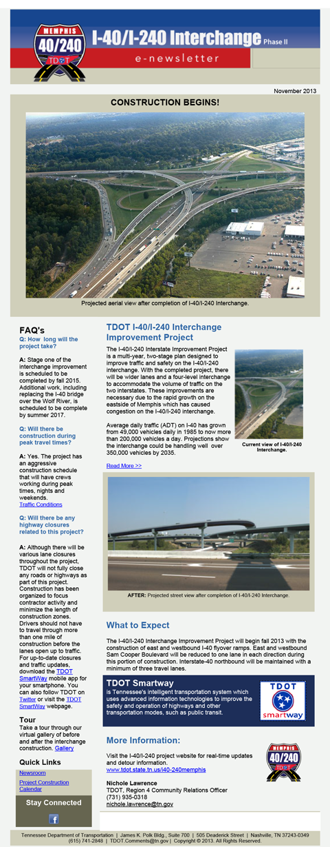 TDOT i40/240 Interchange E-Newsletter