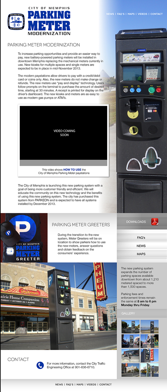 City of Memphis Parking Meters Webpage
